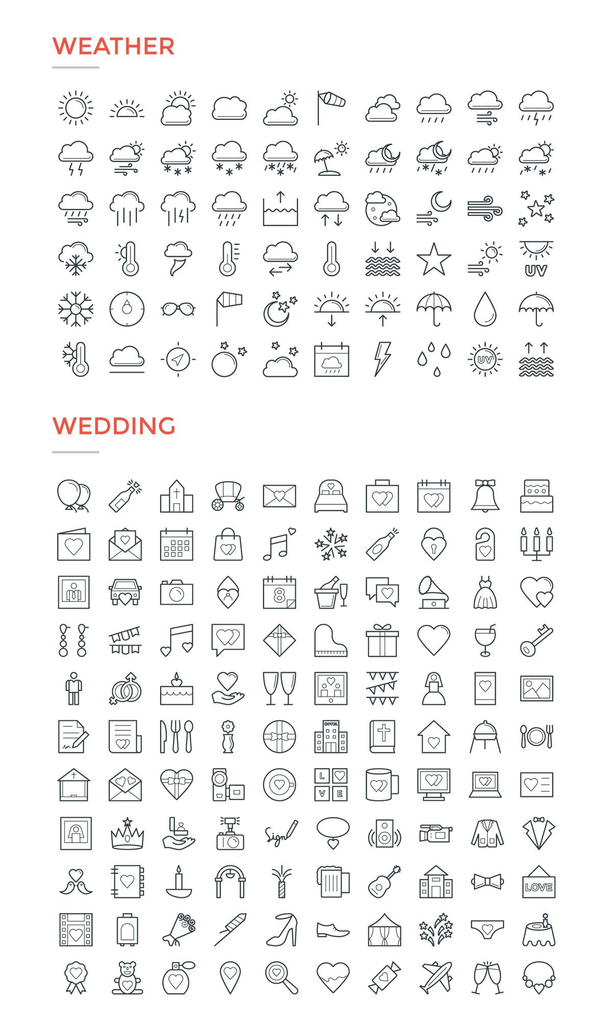 4800款独特的矢量图标合集 4800 Line Icons插图19