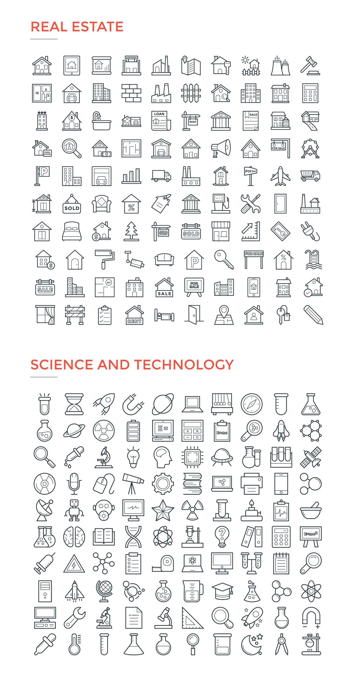 4800款独特的矢量图标合集 4800 Line Icons插图21