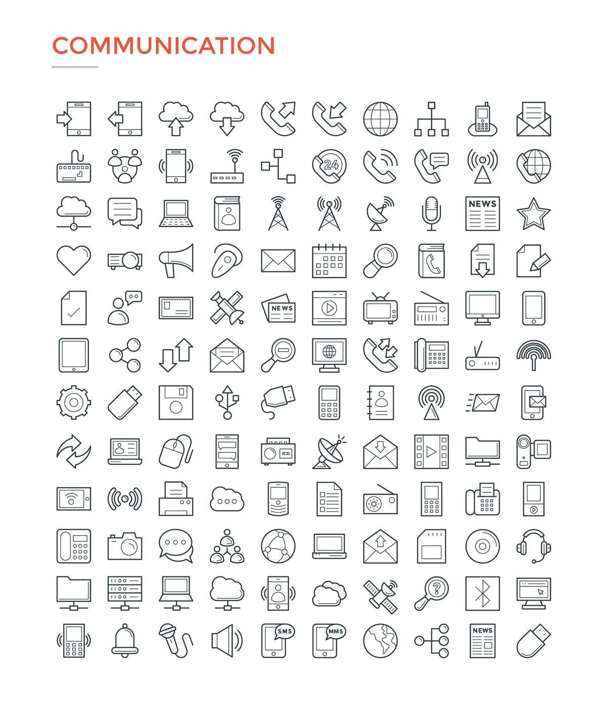 4800款独特的矢量图标合集 4800 Line Icons插图1
