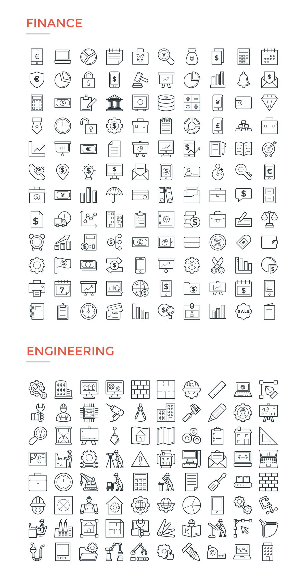 4800款独特的矢量图标合集 4800 Line Icons插图6