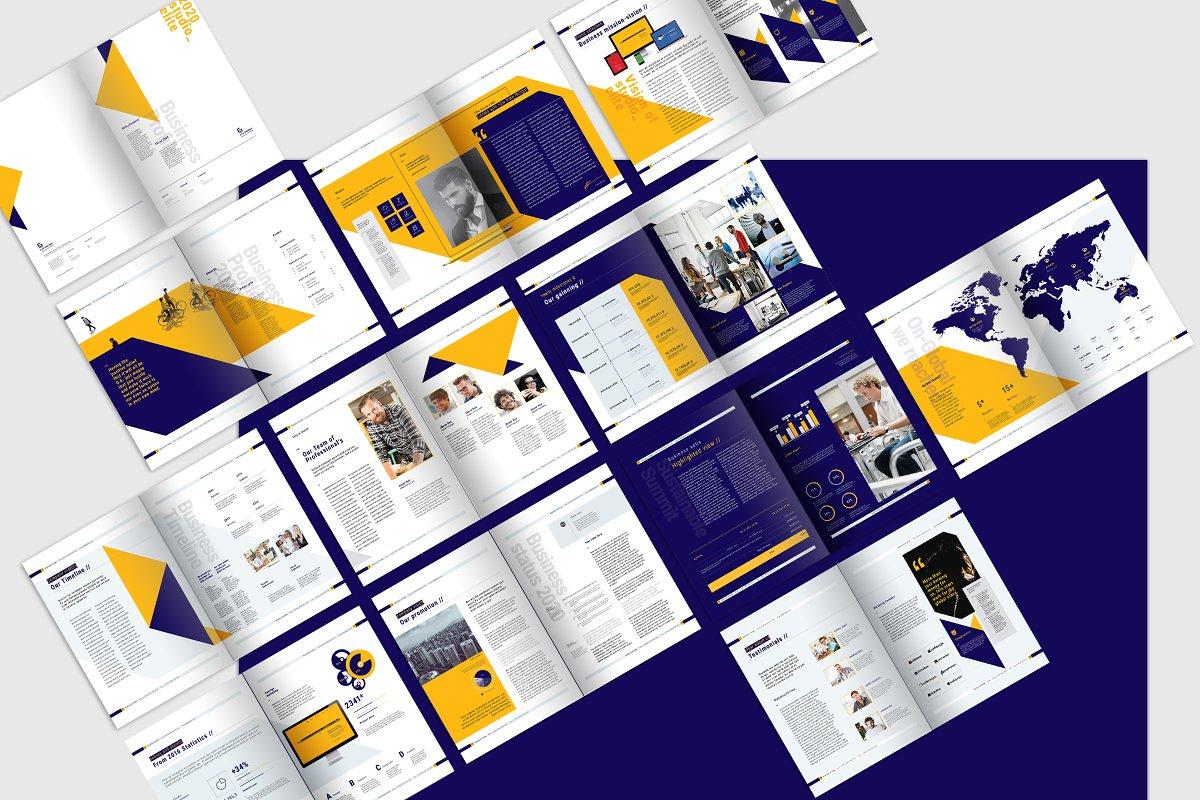 A4蓝黄色系企业介绍宣传手册INDD模板 Company Profile Pack插图(5)