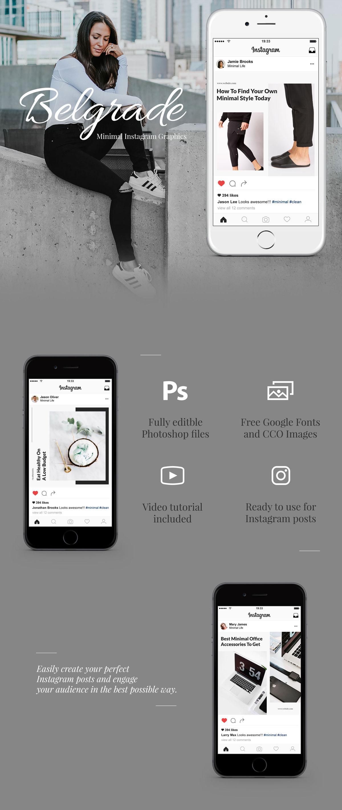 极简的女性服装电商营销朋友圈广告INS风模板 Belgrade Minimal Instagram Graphics插图
