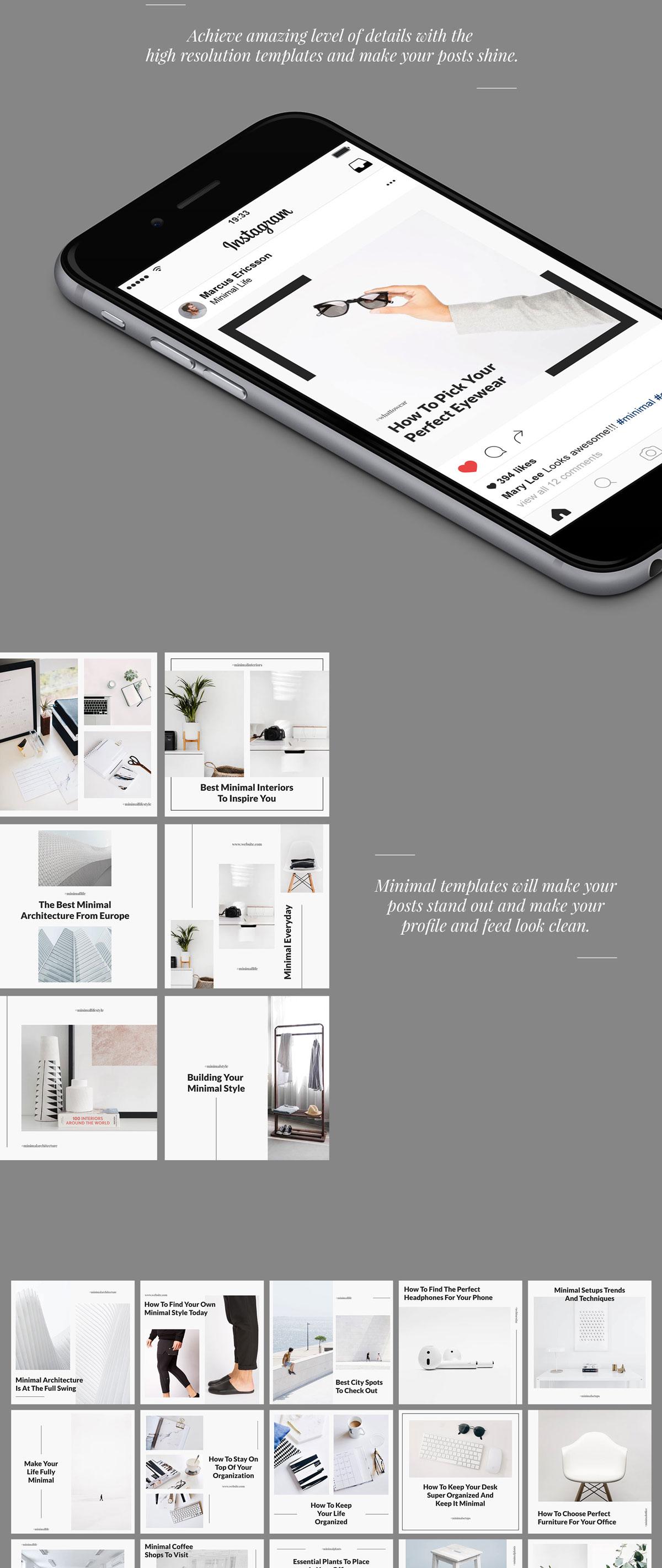 极简的女性服装电商营销朋友圈广告INS风模板 Belgrade Minimal Instagram Graphics插图(1)