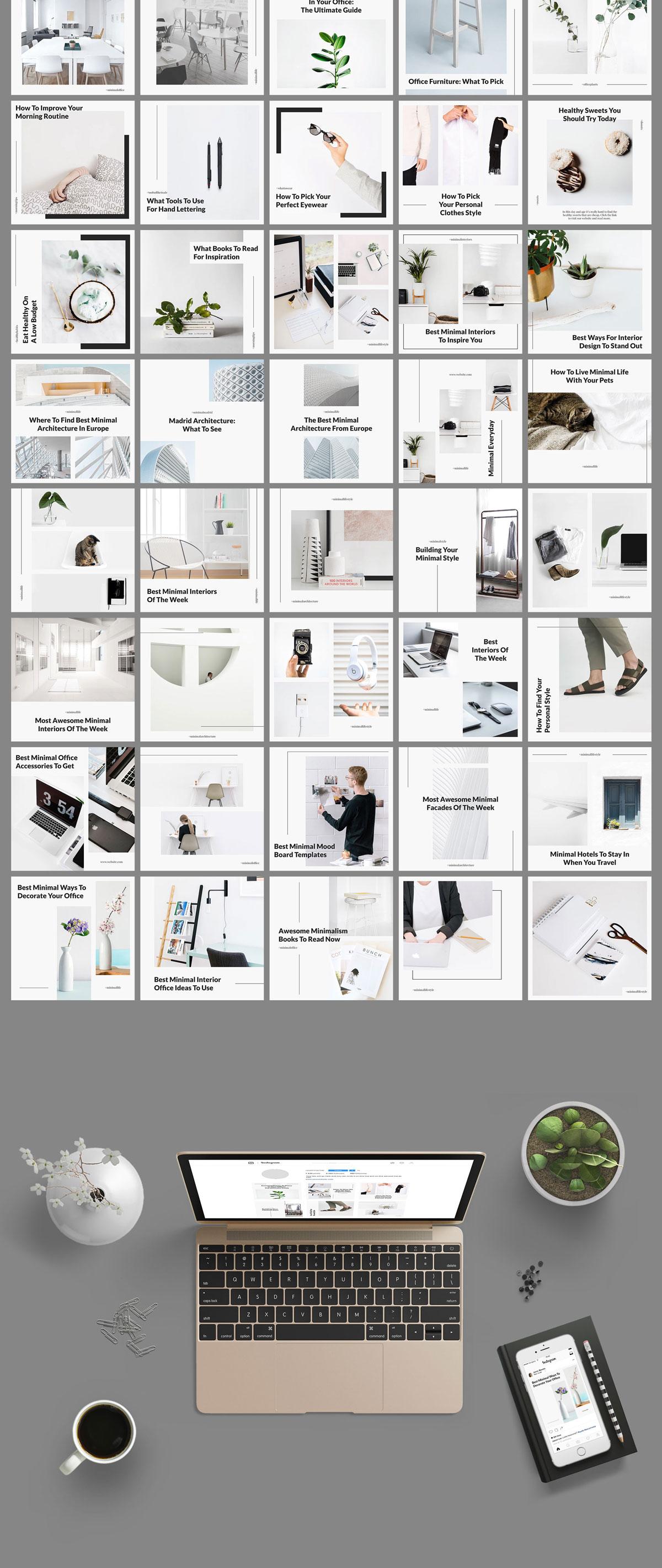 极简的女性服装电商营销朋友圈广告INS风模板 Belgrade Minimal Instagram Graphics插图(2)