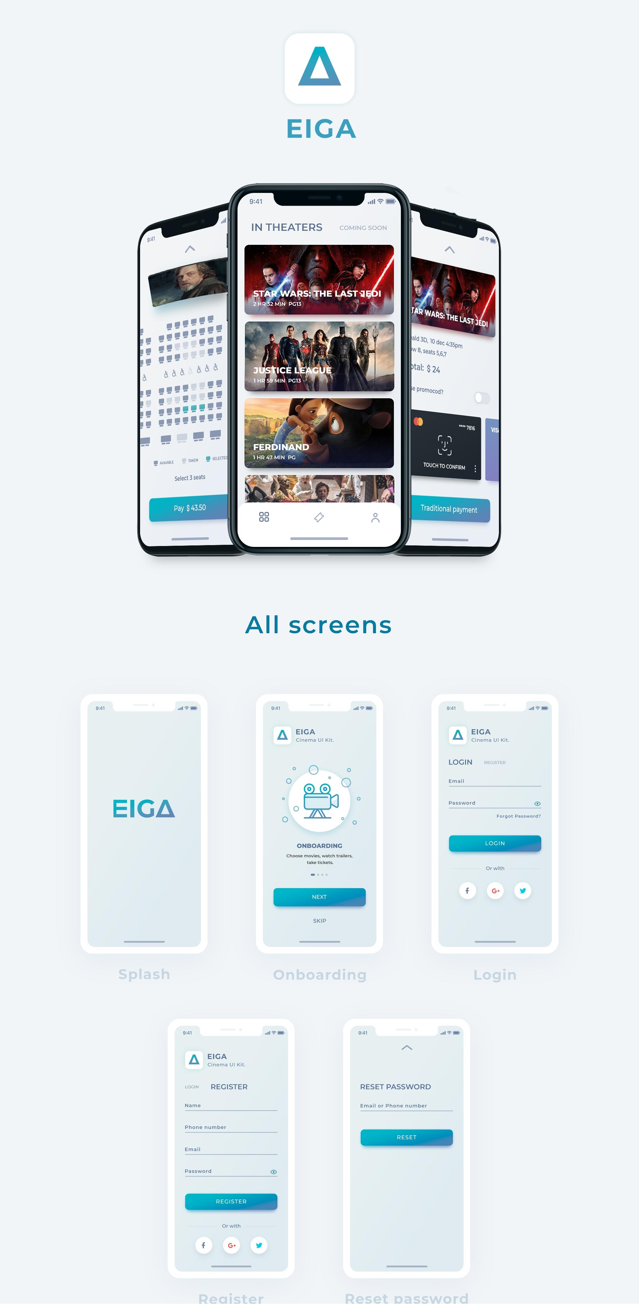 高品质的电影在线订票iOS APP UI工具包 EIGA Cinema UI KIt插图
