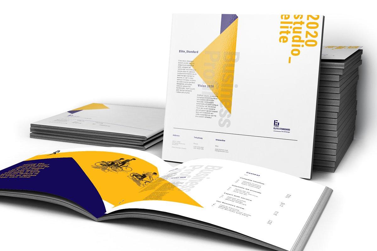 A4蓝黄色系企业介绍宣传手册INDD模板 Company Profile Pack插图(3)