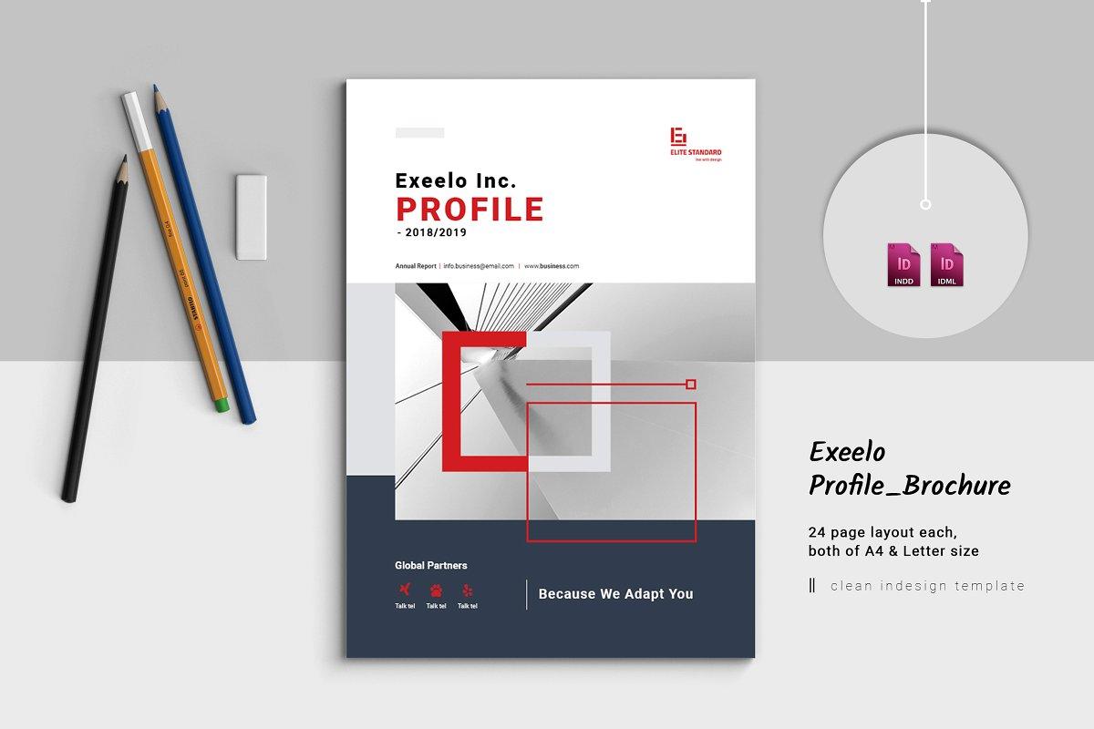 企业业务营销宣传册INDD模板 Exeelo Profile Brochure插图