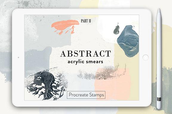 逼真的丙烯酸纹理Procreate笔刷 Abstract Acrylic – Procreate Stamps