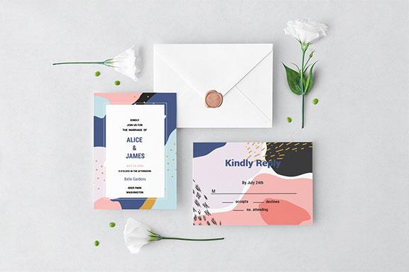 孟菲斯风格的婚礼邀请集设计PSD模板 Memphis Wedding Invitation Set