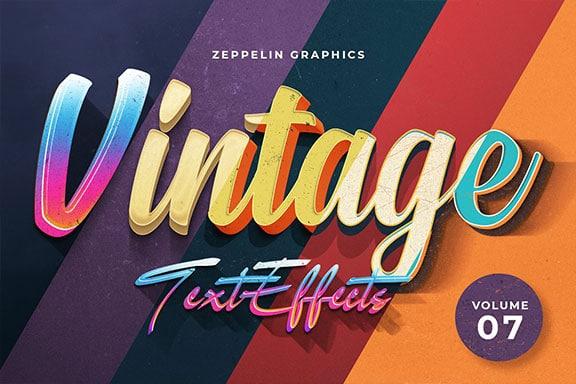 10种复古3D文字效果图层样式PSD模板Vol.7 Vintage Text Effects Vol.7