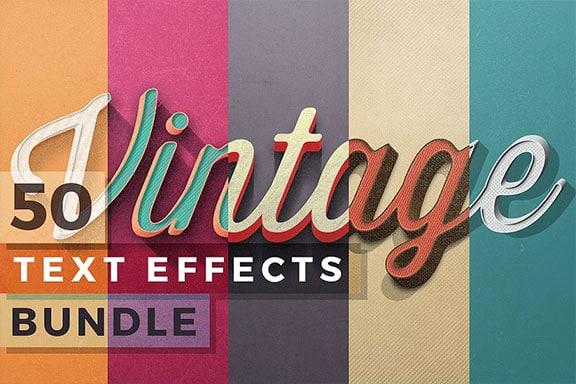 50款复古的3D文字效果图层样机 50 Vintage Text Effects Bundle