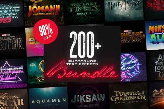 [6.22 GB] 200多种高质量PS文字效果图层样式 200+ Photoshop Text Effects Bundle