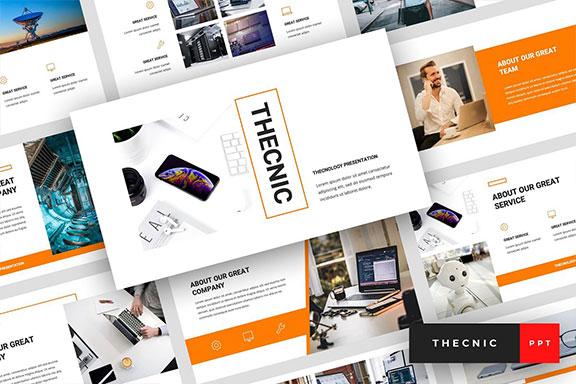 专业独特创意排版布局企业介绍个人简历PPT幻灯片模版 Thecnic – Technology PowerPoint Template