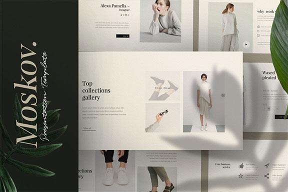 时尚创意多用途男女服装设计介绍PPT模板 Moskov. – Powerpoint