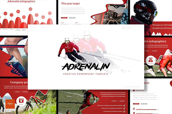 现代简约的体育赛事介绍PPT幻灯片模板 Adrenalin – Powerpoint Template