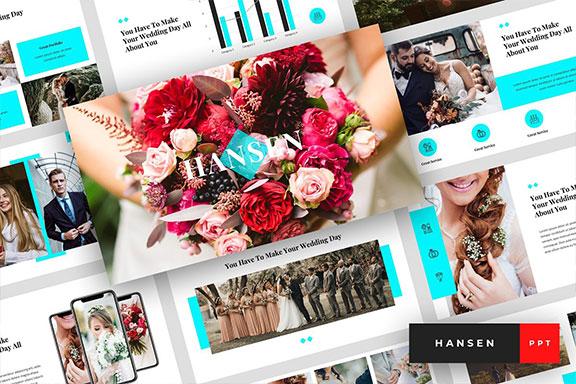 典雅婚礼策划主题的PPT幻灯片模板 Hansen – Wedding PowerPoint Template