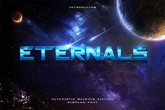 未来派&太空技术感觉的坚实显示字体 Eternals – Futuristic Space Display Typeface