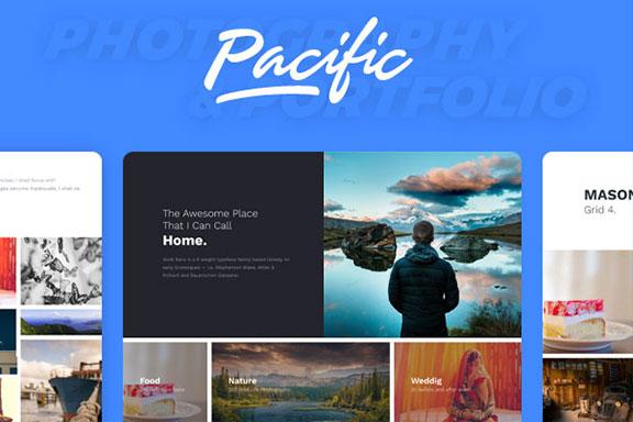 简约规整的WordPress主题摄影博客网站模板 PacificBlue Portfolio WP