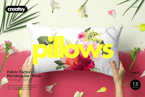 长方形抱枕纺织品样机PSD模板 Fabric Factory v5 Rectangular Pillow