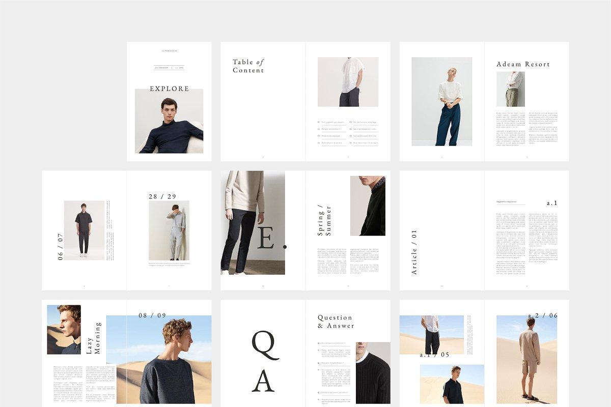时尚潮流男士服饰画册INDD模板 EXPLORE Editorial Fashion Lookbook插图(6)