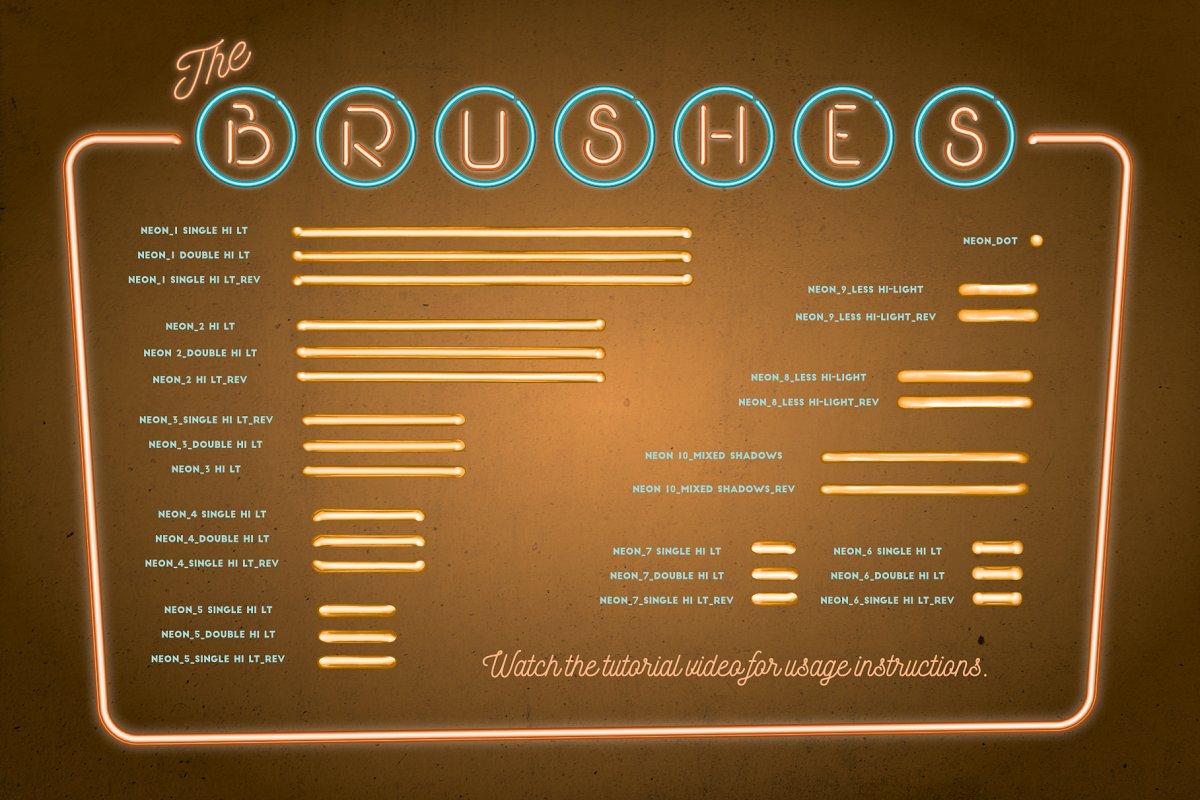 明亮的霓虹灯效果Affinity笔刷 Neon Affinity Brushes插图(5)