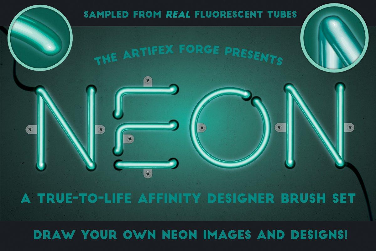 明亮的霓虹灯效果Affinity笔刷 Neon Affinity Brushes插图