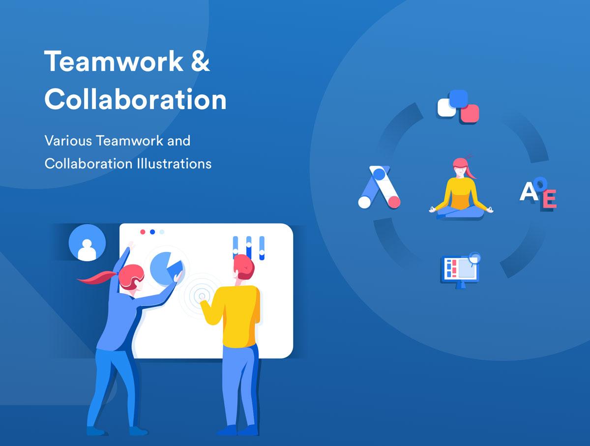 精心设计的团队合作和协作EPS矢量插图 Teamwork & Collaboration Illustrations插图(1)