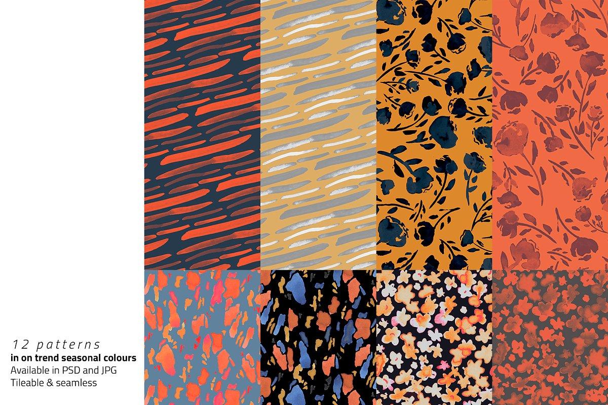 高分辨率秋天油墨样式图案集合 Autumn Inks Pattern Set插图(1)