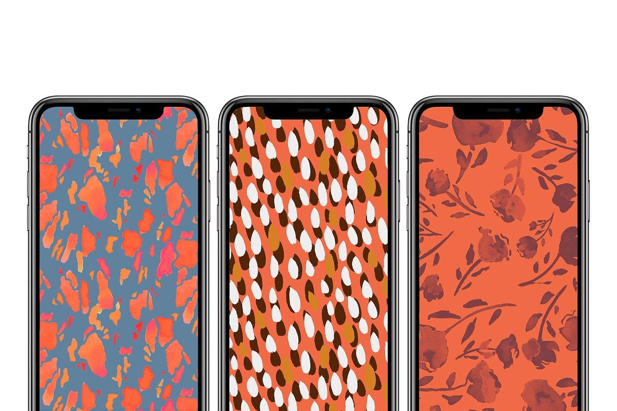 高分辨率秋天油墨样式图案集合 Autumn Inks Pattern Set插图(4)