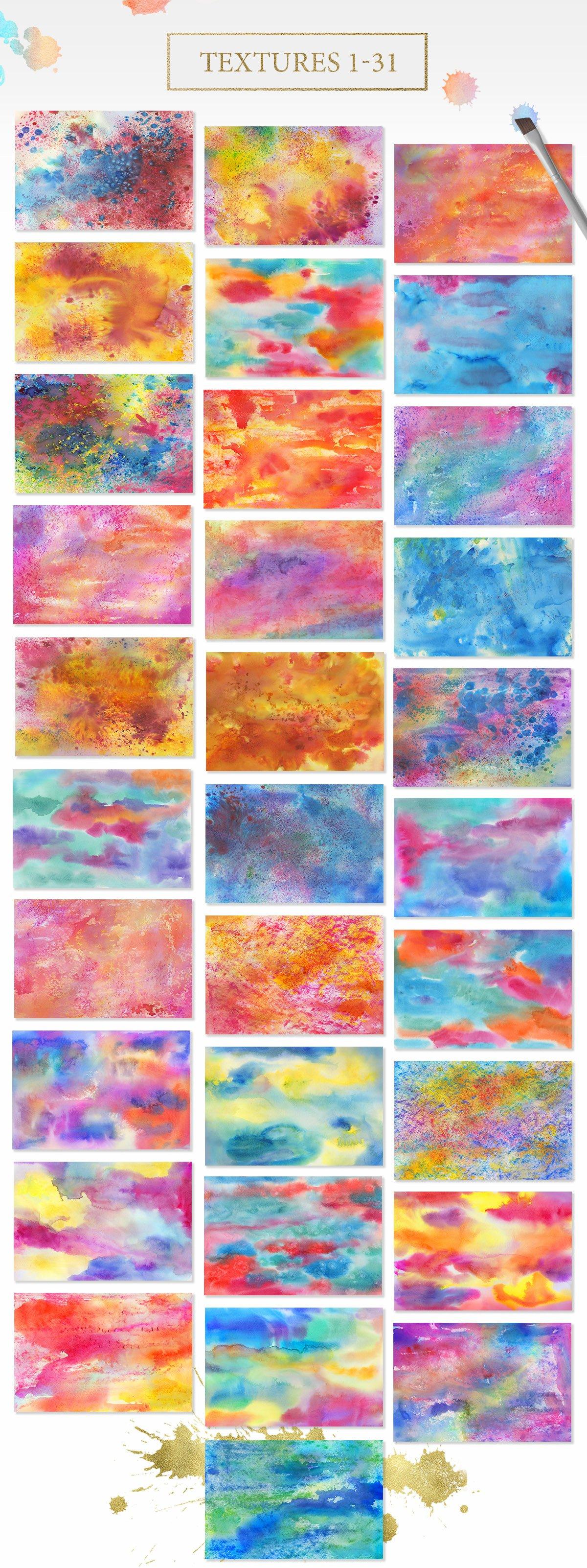62款手绘水彩背景&水晶碎片纹理集合 62 Diversity Textures插图(3)