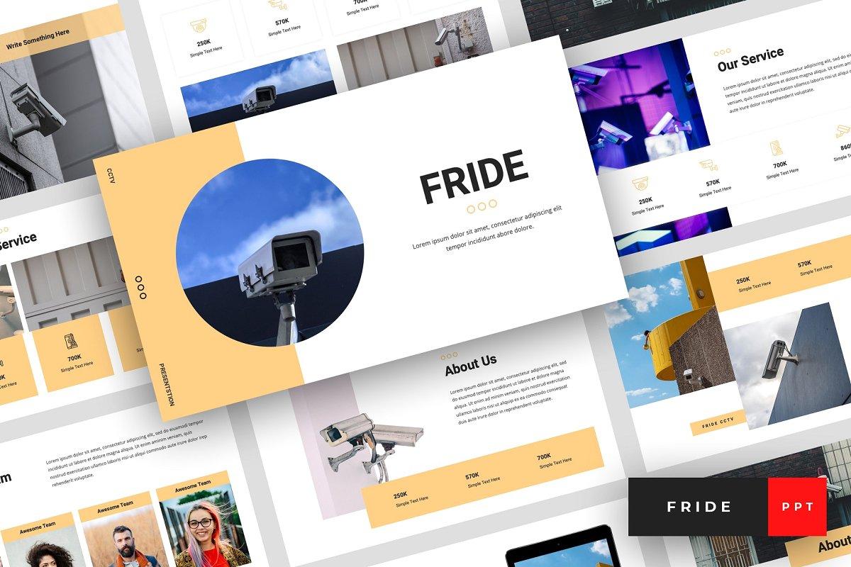 现代独特的排版布局电子设备介绍PPT幻灯片模板 Fride – CCTV PowerPoint插图