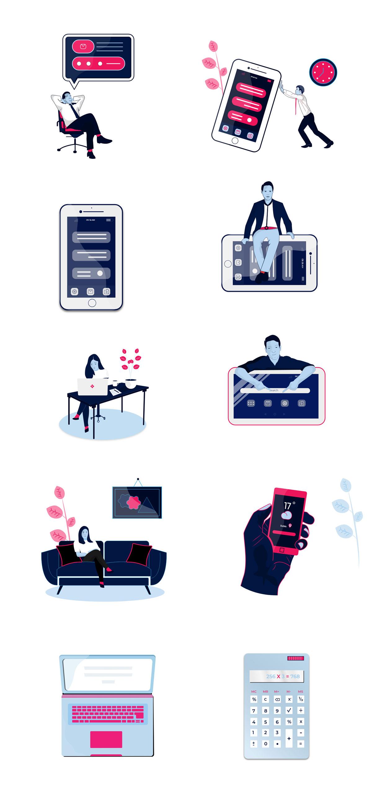 唯美的自由职业者矢量插图包Vol 01 Freelancer Illustration Pack Vol 01插图(11)