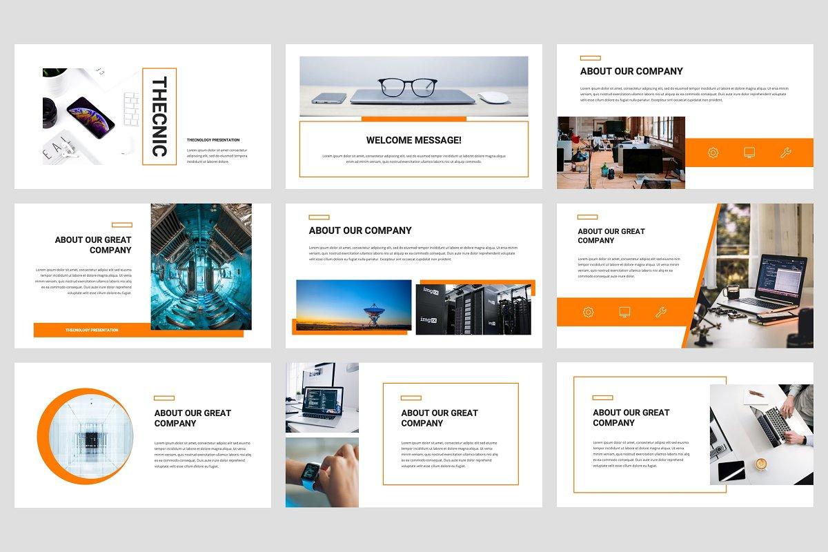 专业独特创意排版布局企业介绍个人简历PPT幻灯片模版 Thecnic – Technology PowerPoint Template插图(1)