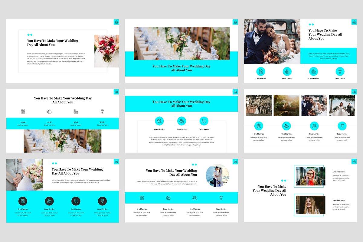 典雅婚礼策划主题的PPT幻灯片模板 Hansen – Wedding PowerPoint Template插图(2)