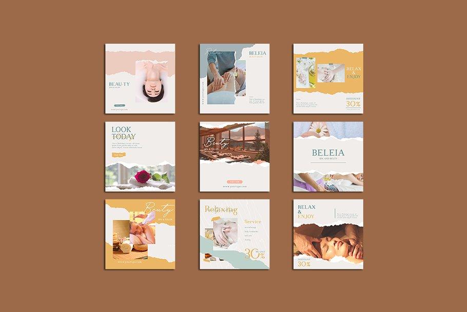 女性养生水疗电商营销海报朋友圈广告INS风模板 Relax Instagram Templates插图(2)