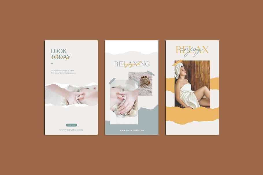 女性养生水疗电商营销海报朋友圈广告INS风模板 Relax Instagram Templates插图(4)