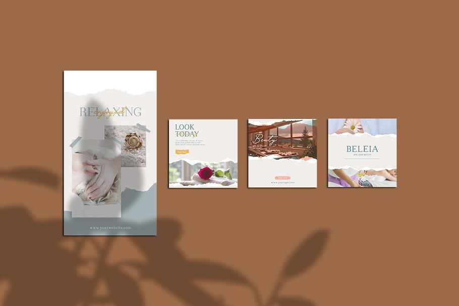 女性养生水疗电商营销海报朋友圈广告INS风模板 Relax Instagram Templates插图(6)