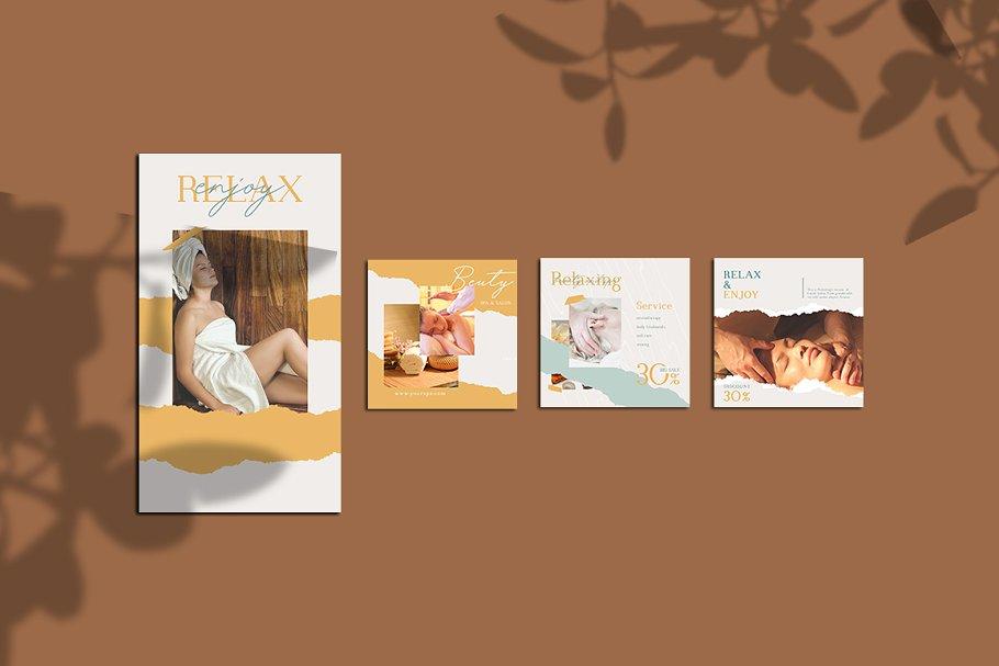 女性养生水疗电商营销海报朋友圈广告INS风模板 Relax Instagram Templates插图(7)