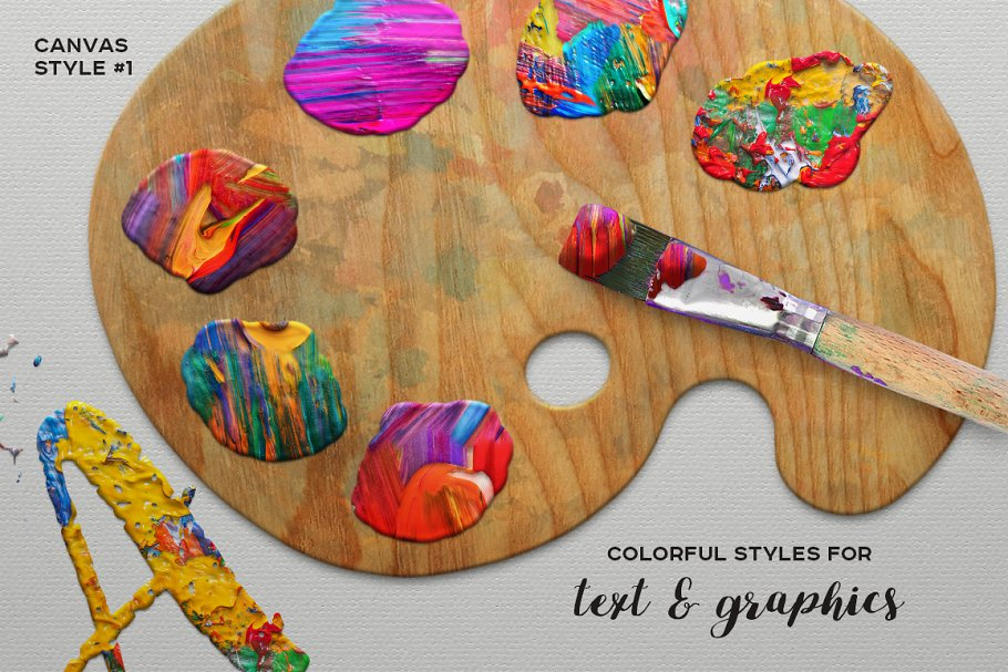 逼真的油画颜料&壁画效果的PS图层样式 FUNKY PAINTER Photoshop Creative Kit插图2