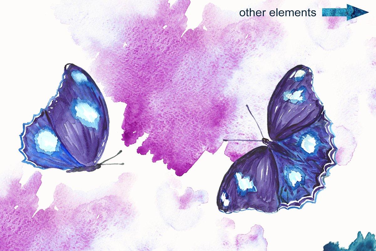 蓝色手绘水彩蝴蝶背景纹理 Blue Watercolor Butterflies插图(1)