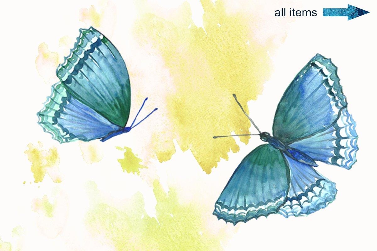蓝色手绘水彩蝴蝶背景纹理 Blue Watercolor Butterflies插图(2)