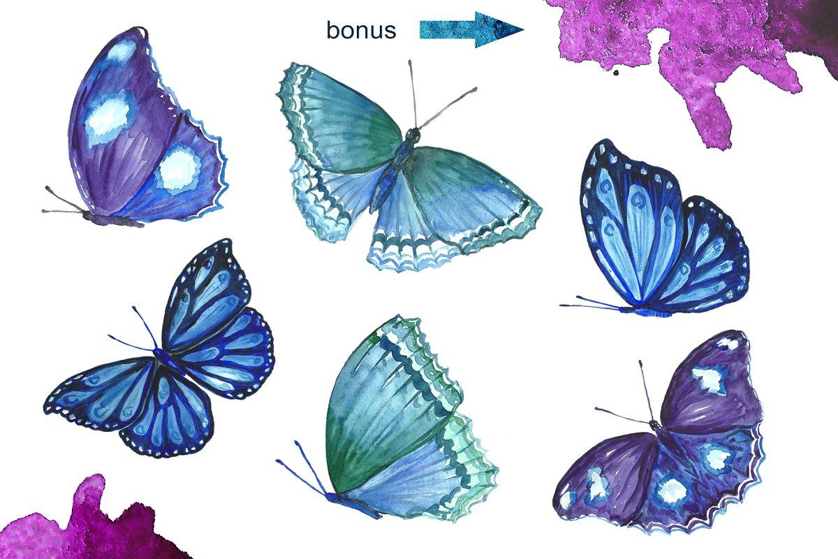 蓝色手绘水彩蝴蝶背景纹理 Blue Watercolor Butterflies插图(3)