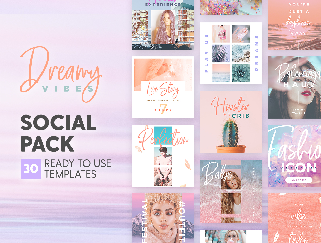 梦幻产品市场营销品牌故事Instagram社交设计素材 Dreamy Vibes Social Pack插图