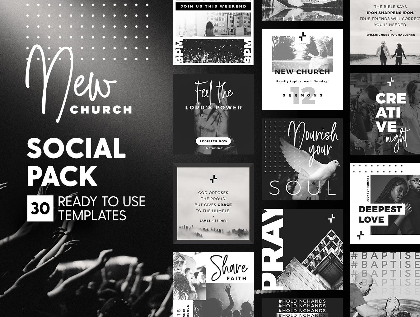 黑白色系品牌营销故事Instagram社交媒体设计素材 New Church Social Pack插图