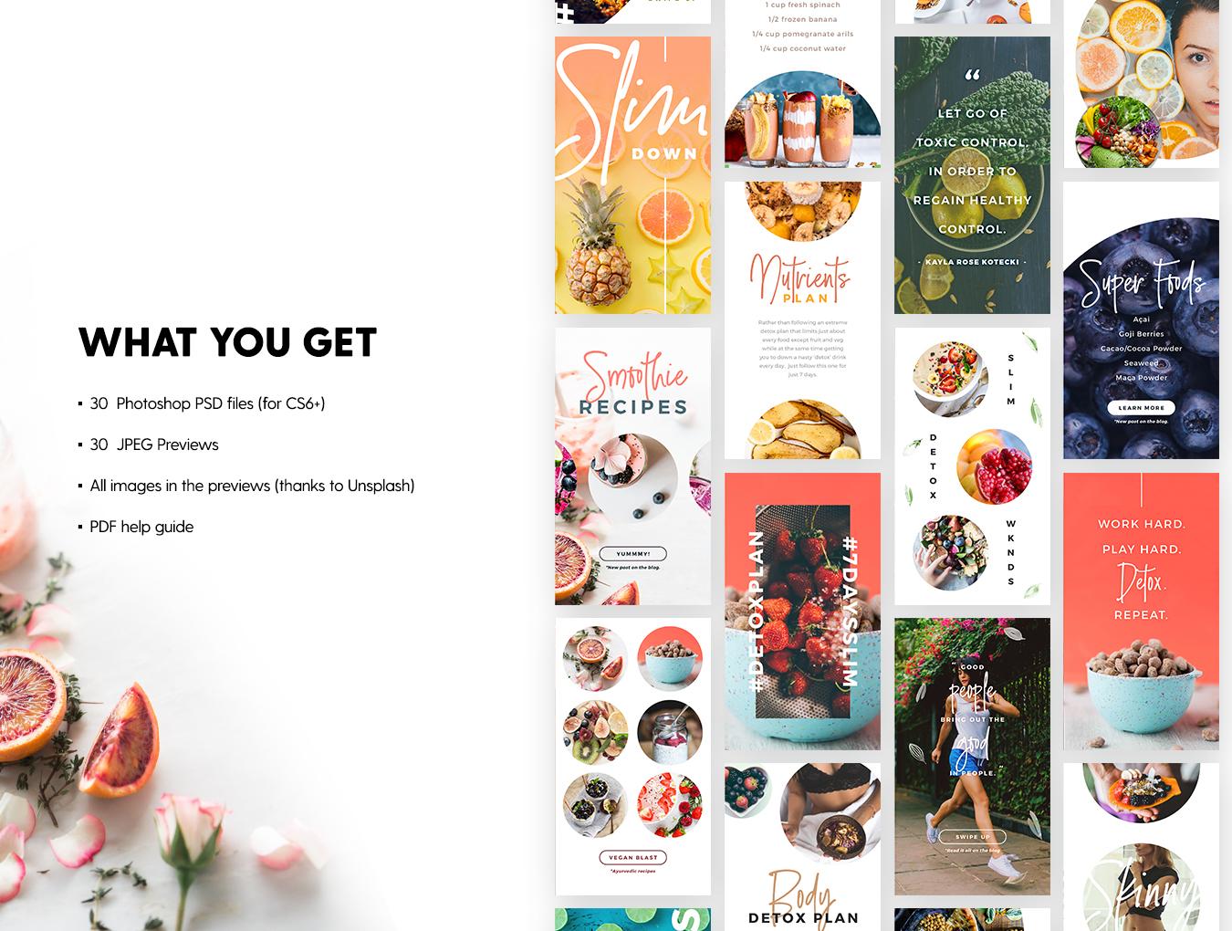 营养美食健身运动博主Instagram社交设计素材包 Detox Week Insta Stories插图(1)