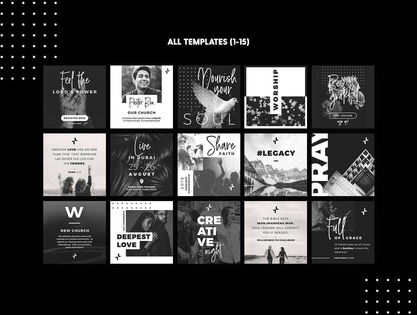 黑白色系品牌营销故事Instagram社交媒体设计素材 New Church Social Pack插图(2)