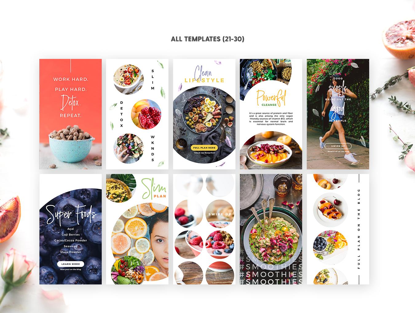 营养美食健身运动博主Instagram社交设计素材包 Detox Week Insta Stories插图(4)