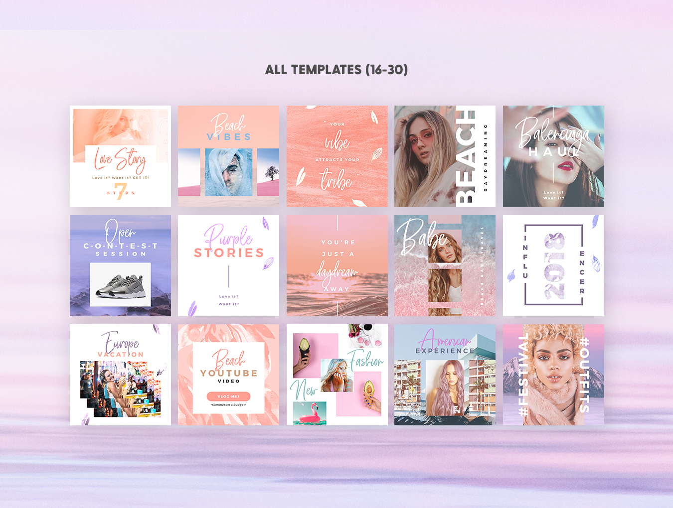 梦幻产品市场营销品牌故事Instagram社交设计素材 Dreamy Vibes Social Pack插图(3)