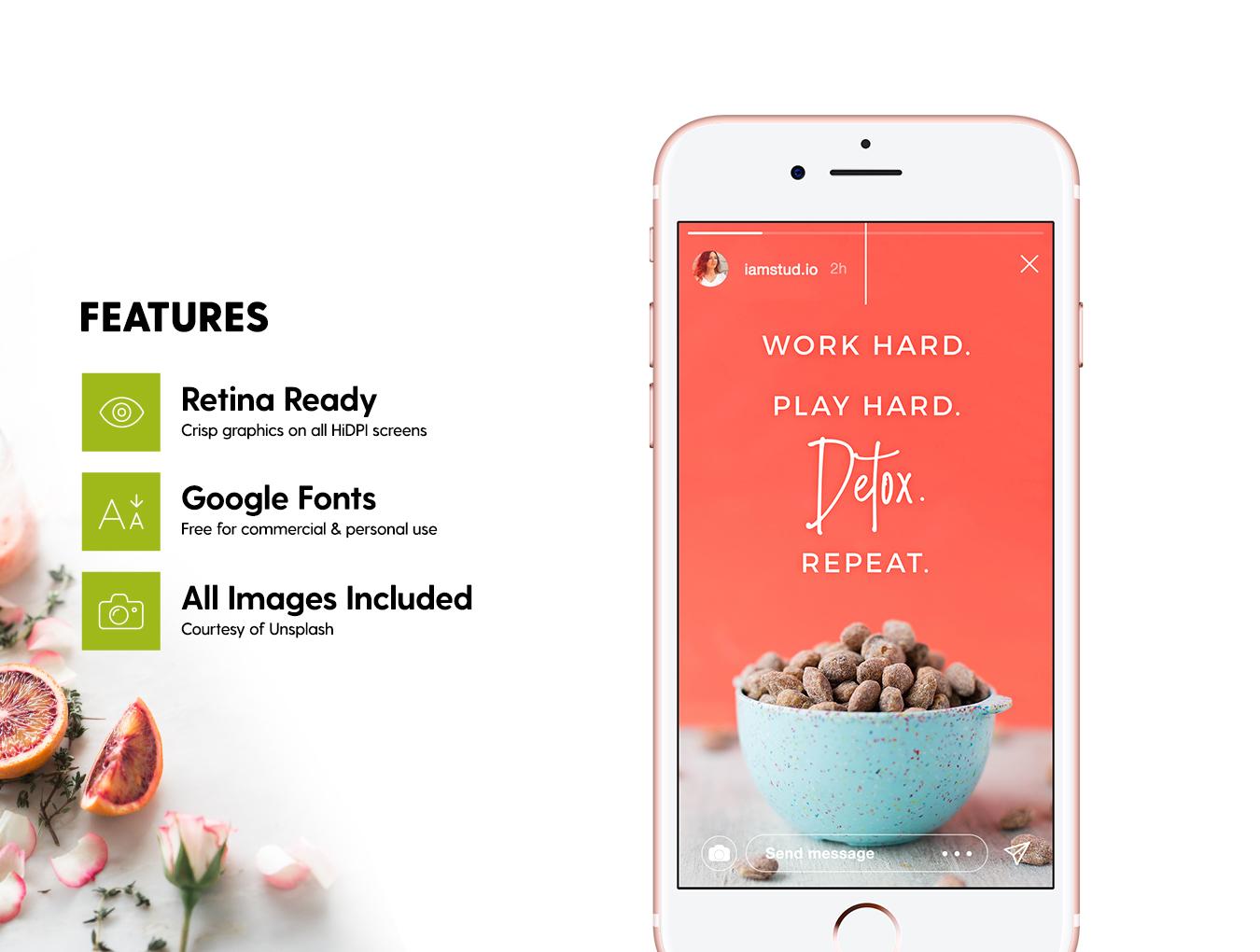 营养美食健身运动博主Instagram社交设计素材包 Detox Week Insta Stories插图(5)