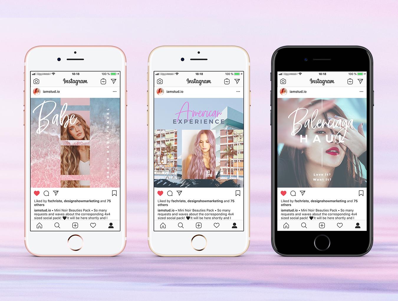 梦幻产品市场营销品牌故事Instagram社交设计素材 Dreamy Vibes Social Pack插图(7)